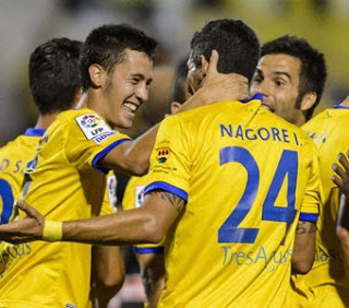 Christian Alfonso celebra su gol ante el Recre con Nagore
